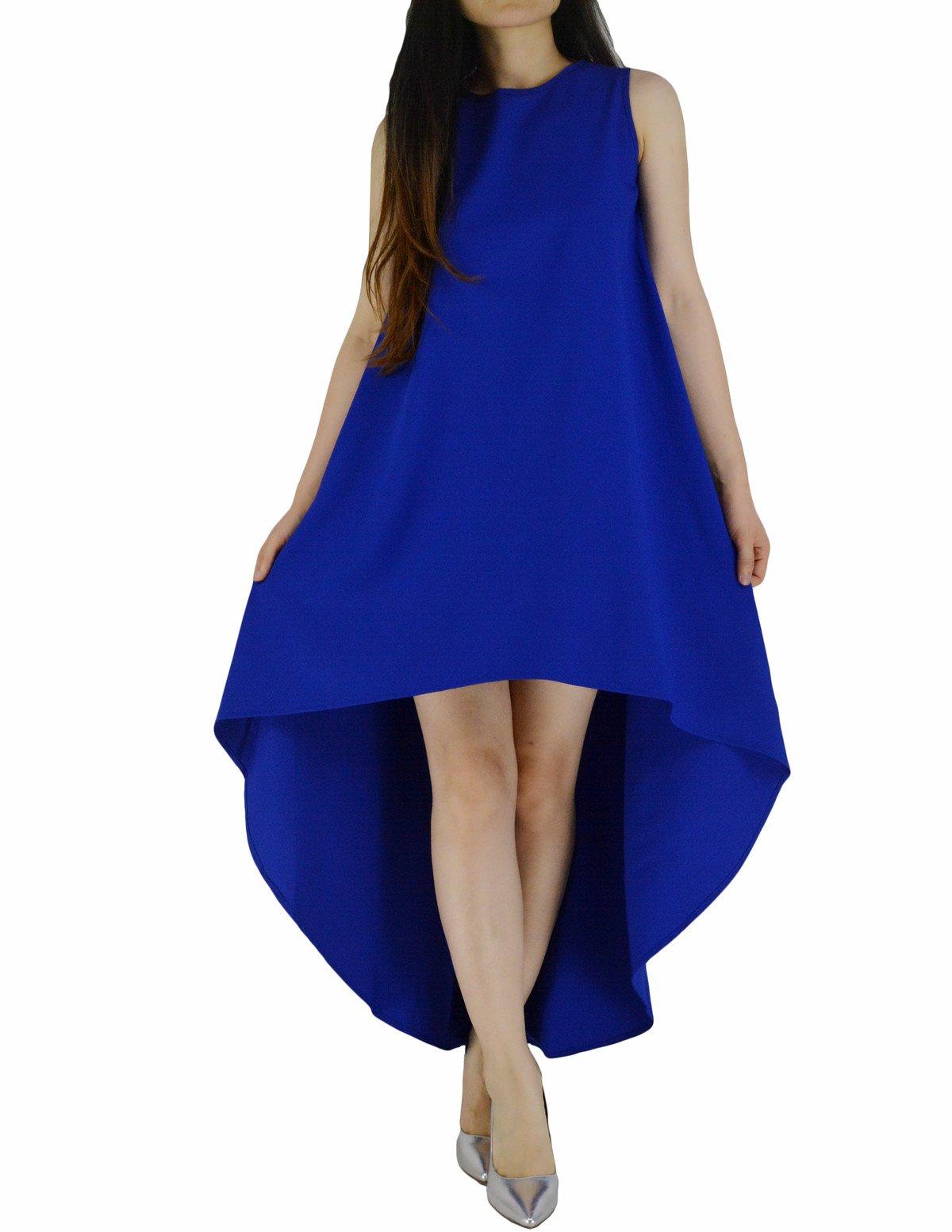 YSJERA Women's Chiffon Solid Sleeveless High Low Maxi Dress Evening Party Dresses (18,Blue)