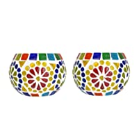 Lalhaveli Solid Glass Candle Holder for Living Room Decorations - Set of 2(3 Inches)