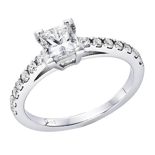 auténtica venta caliente descuento mejor valorado originales 3/4 ct. Corte Princesa Diamante Solitario Anillo de ...