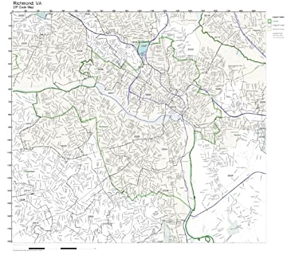 Zip Code Map Of Virginia.Amazon Com Zip Code Wall Map Of Richmond Va Zip Code Map Laminated