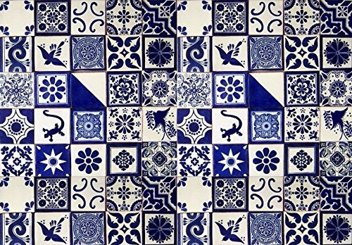 50 pcs 4x 4x ¼ inch BLUE & WHITE Mexican DESIGNS Clay, Ceramic Tiles