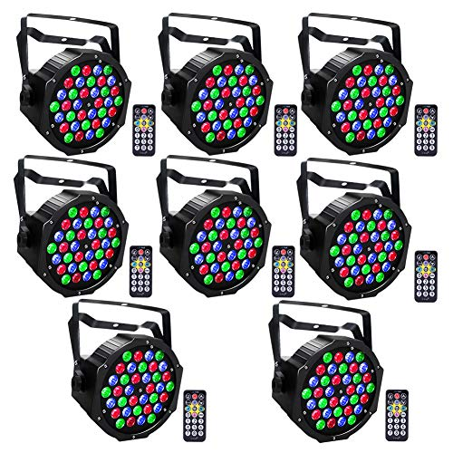 DJ Lights U`King 36LEDs RGB Par Lights with Wireless Remote Control DMX 512 Stage Wash Light Sound Activated Uplighting Great for Wedding Party Band Shows - 8 Pack