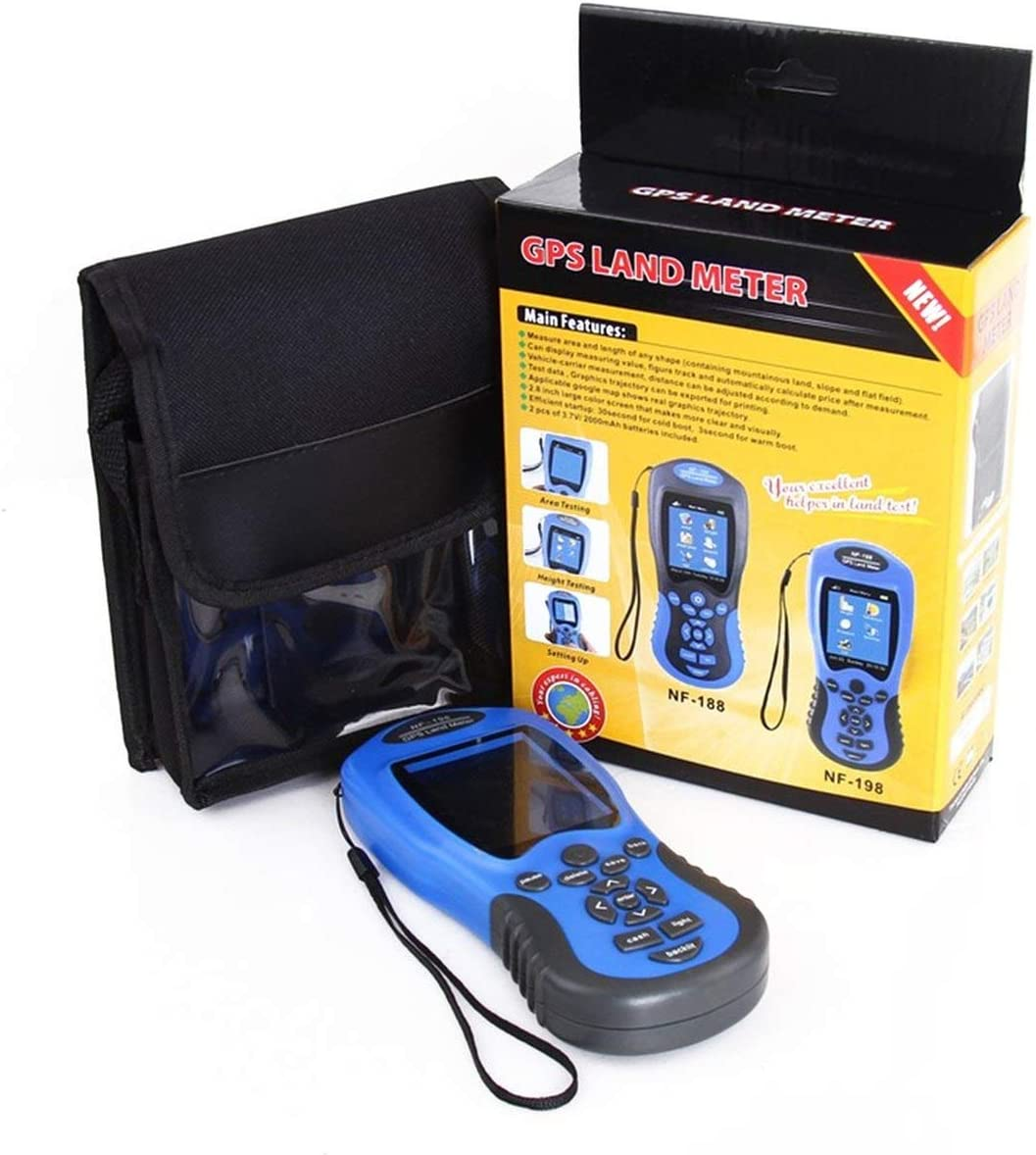 FEKETEUKI Dispositivos de Prueba GPS NF-198 Medidor GPS terrestre Pantalla LCD Valor de medición Figura Ãrea de topografía y mapeo de Tierras agrícolas Medición-Azul-1 Tamaño