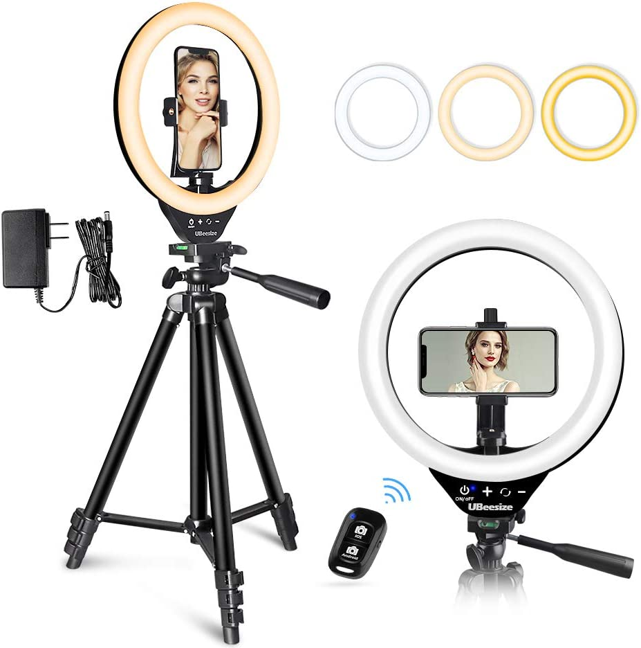 10'' LED Ring Light with Stand and Phone Holder, UBeesize Selfie Halo Light