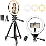 10'' LED Ring Light with Stand and Phone Holder, UBeesize Selfie Halo Light for Photography/Makeup/Vlogging/Live…