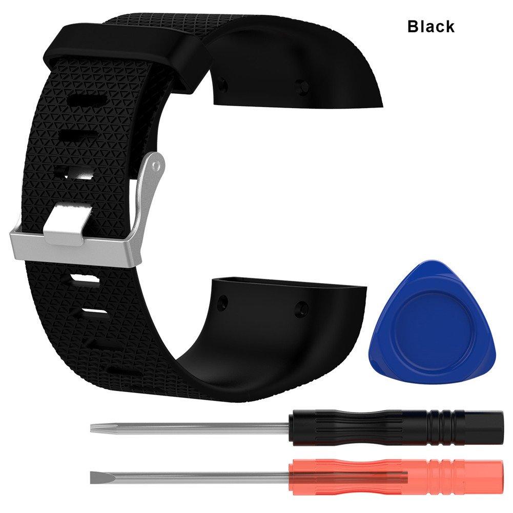 シリコン交換用時計バンドfor Fitbit Surgeトラッカー腕時計ストラップwith Disassemblingツール  ブラック B075FLDZ88