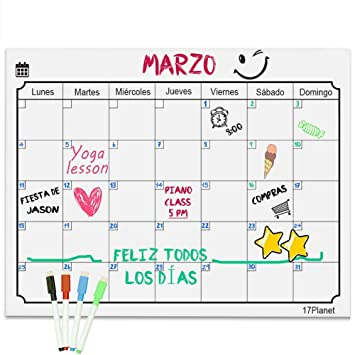 17Planet Calendario Magnético para Nevera, Pizarra planificador de ...