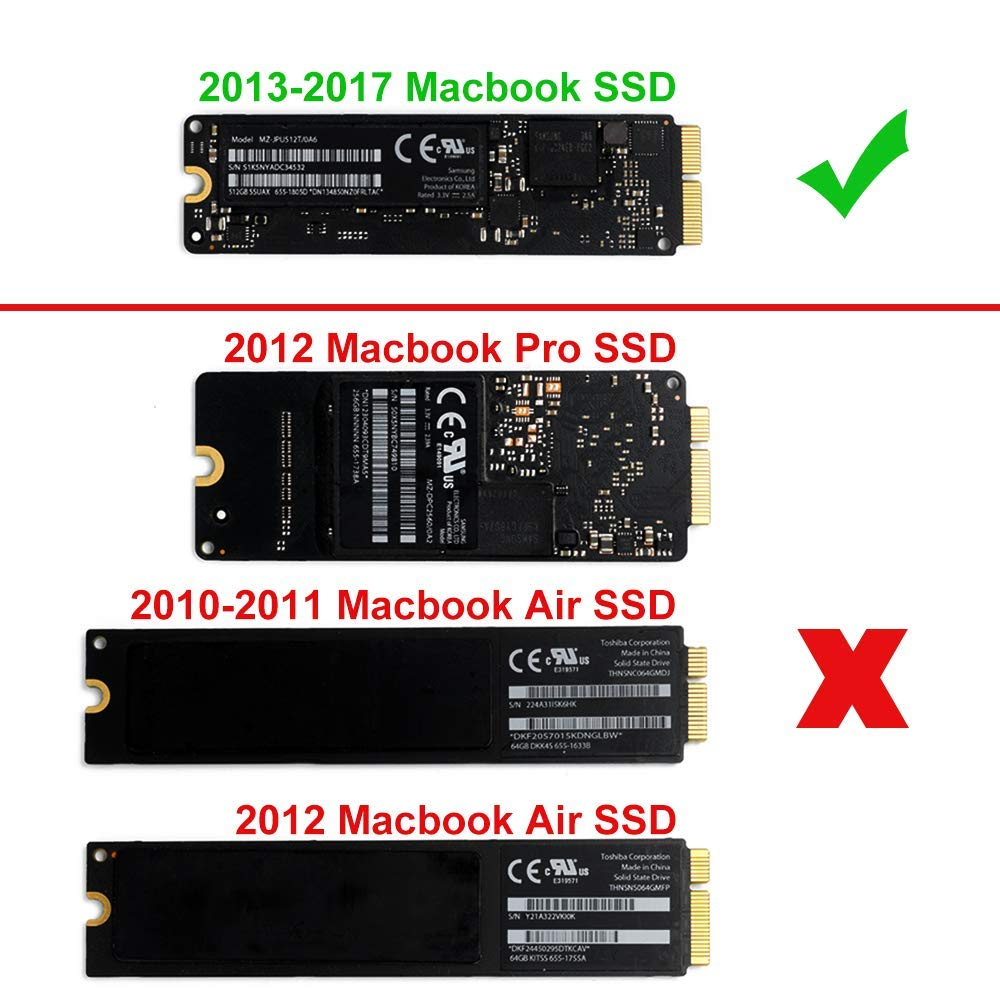 USB 3.0 PCIe SSD Enclosure for 2013 2014 2015 2016 2017 MacBook Air Pro Retina Support 12+16 pin USB External Reader for A1465 A1466 A1398 A1502 SSD Adapter QNINE MacBook Air SSD Geh/äuse
