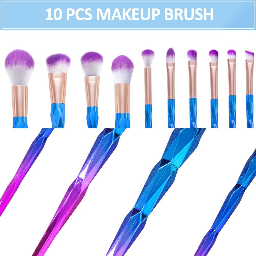 LOBKIN Set de Pinceles de Maquillaje, 10 unids Pinceles de Maquillaje Polvos Base Blush Contour Fan Brush Sombra de Ojos Pinceles de Mezcla pinceles para manualidades (10PCS)