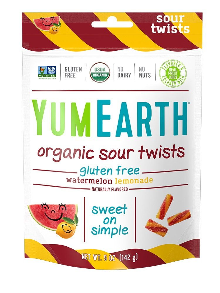 YumEarth Organic Gluten Free Sour Twists Snack Packs, Watermelon Lemonade, 5 Ounce, 6 Count