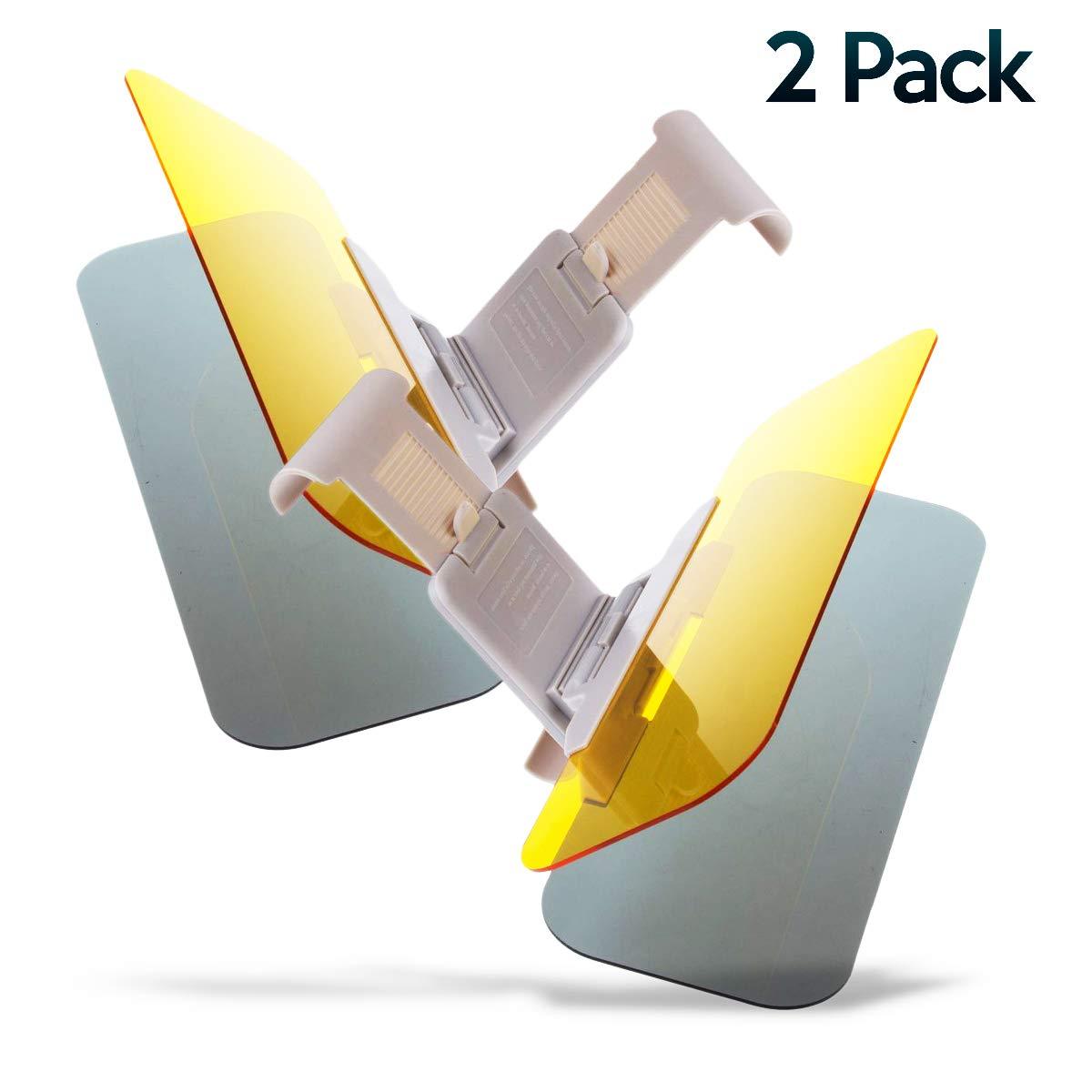 Car Windshield Tac Sun Visor Night Anti-Glare 2 Pack- Zone Tech Premium Quality Universal Sunshade and Night Vision Anti-Dazzle Windshield Driving Visor (2 Pack)