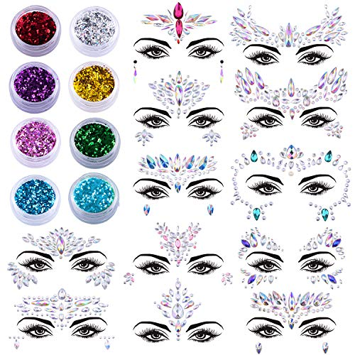 Temporary Tattoos Crystals - SIQUK 12 Sets Face Gems Glitter Mermaid Face Jewels Crystal Stickers with 8 Boxes Chunky Face Glitter Temporary Tattoos for Festival Rave Carnival Party