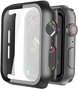 Pokanic- Apple Watch Hard Glass Film Case Full Cover Wireless Charge Ultra Light Weight Scratch Resistant Protective Screen Case Compatible with Apple Watch SE 6 5 4 3 2 1 Series (Black, 38mm)