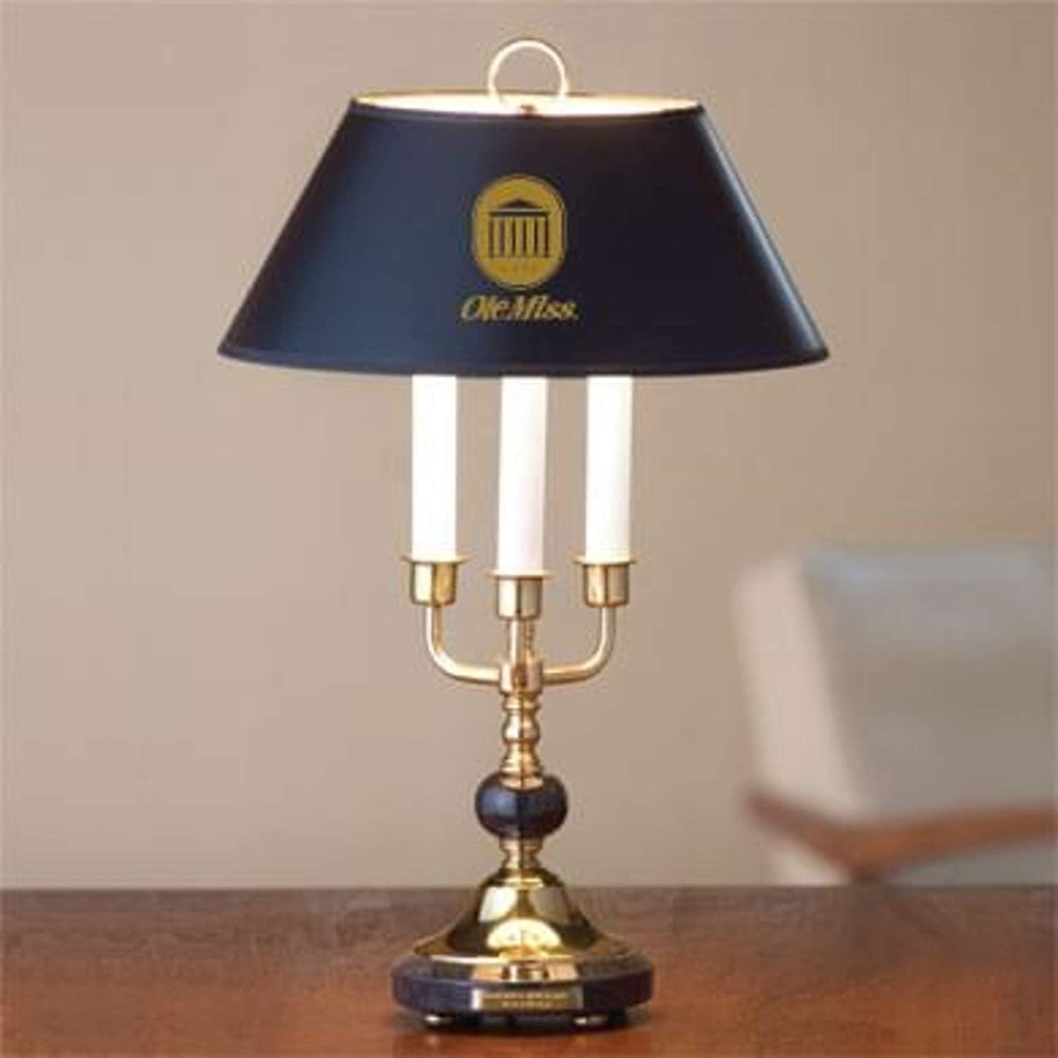 LA HART University of Mississippi Lamp in Brass /& Marble M