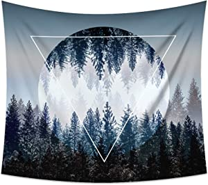 Xinhuaya Large Tapestry Wall Hanging Sunset Forest and Mountains Trees with Art Nature Hippie Polyester Home Decorations Fresh Feel for Living Room Bedroom School Children Dorm Decor