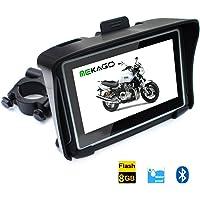 mekago (Noir) 10,9cm HD 8Go Mémoire interne étanche IPX7Moto GPS Navigator–Bluetooth + FM + Cartes Europe