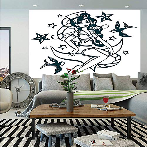Star Girl Canvas Reproduction - Anchor Huge Photo Wall Mural,Pin up Girl Nautical Sailor Suit Surrounded by Swallow Birds Stars Hand Drawn Decorative,Self-Adhesive Large Wallpaper for Home Decor 108x152 inches,Dark Blue White