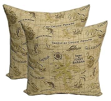 Set of 2 Indoor Outdoor 20 Decorative Throw Pillows – Tommy Bahama Tropical Nautical Tan Map Print