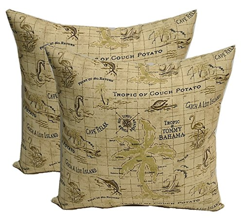 "Set of 2 Indoor / Outdoor 20"" Decorative Throw Pillows - Tommy Bahama Tropical Nautical Tan Map Print"