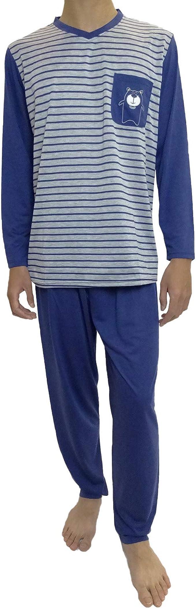 Mini kitten - Pijama de Caballero Hombre de Algodon Fino Manga Larga con Pantalon Largo y de Cuello Pico/Ropa para Dormir de Hombre: Amazon.es: Ropa y accesorios