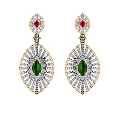 736dc38a733717 Buy Pooja & Sonam .925 Sterling Silver and Cubic Zirconia Drop Earrings  Online at Low Prices in India | Amazon Jewellery Store - Amazon.in