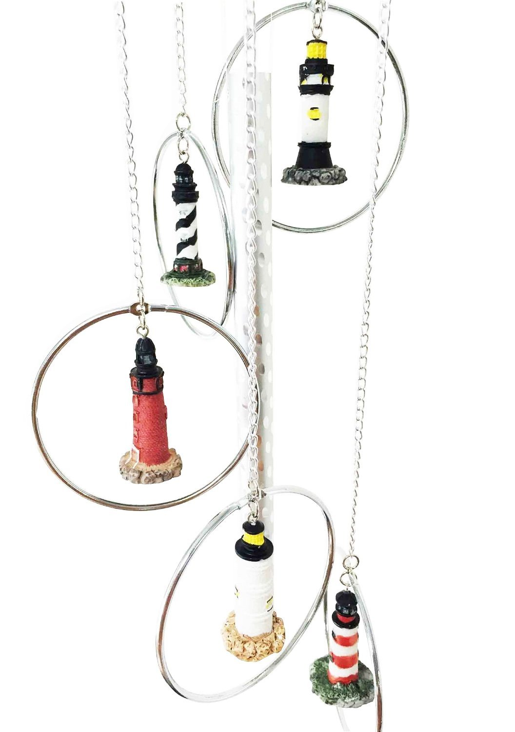 Ebros Five World Famous Light Houses In Metal Rings Wind Chime Decor Resonant Relaxing Patio Aluminum And Resin Construction