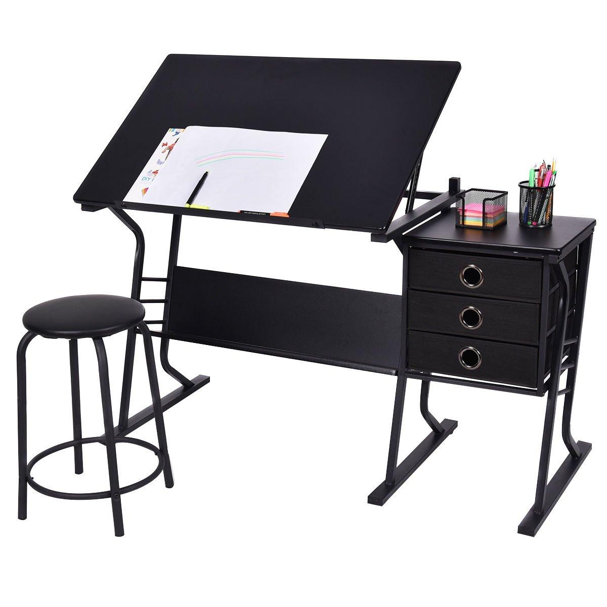 Picotech Drafting Desk MDF PVC Heavy Gauge Steel Stool Powder Coated Black Stylish Sturdy Durable 3 Pull-Out Drawer 1 Organize Storage Shelf Adjustable Tilt Desktop Writing Drawing Design Office Home by Picotech