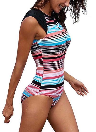8fbc36726 Amazon.com  MNLYBABY Women Printed One-Piece Sleeveless Rash Guard Zip UV  Protection Surfing Swimsuit Bathing Suits  Clothing