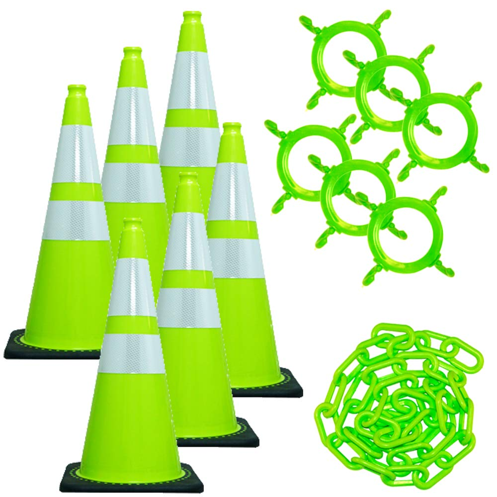 Mr. Chain Traffic Cone and Chain Kit, Safety Green with Reflective Collar, 28-Inch Height (93277-6) by Mr. Chain