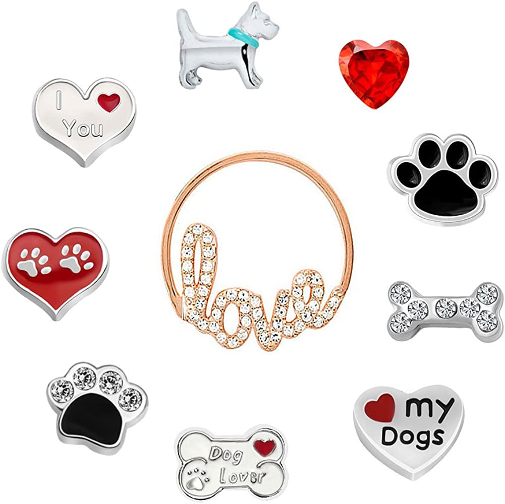 Corykeyes 10pcs Love Dogs Floating Charms Set for Glass Living Memory Locket Necklace Bracelet