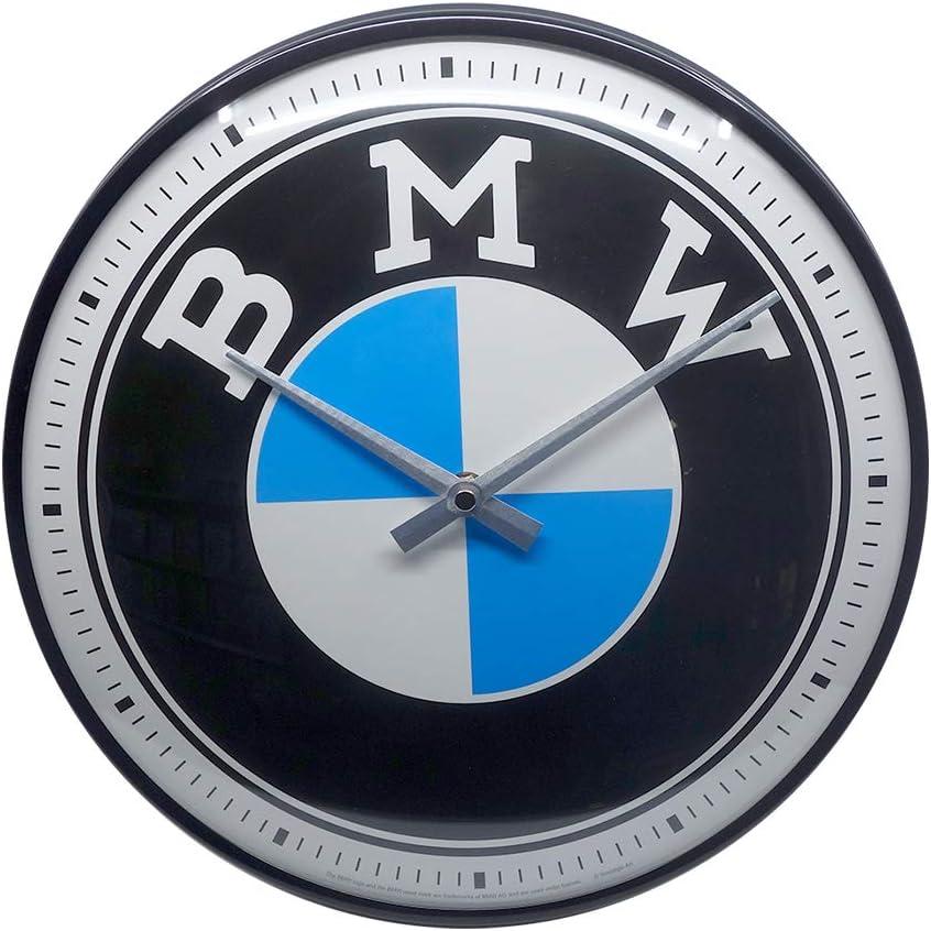 Nostalgic-Art BMW-Logo Reloj de Pared, Metal, carbón, 31 cm