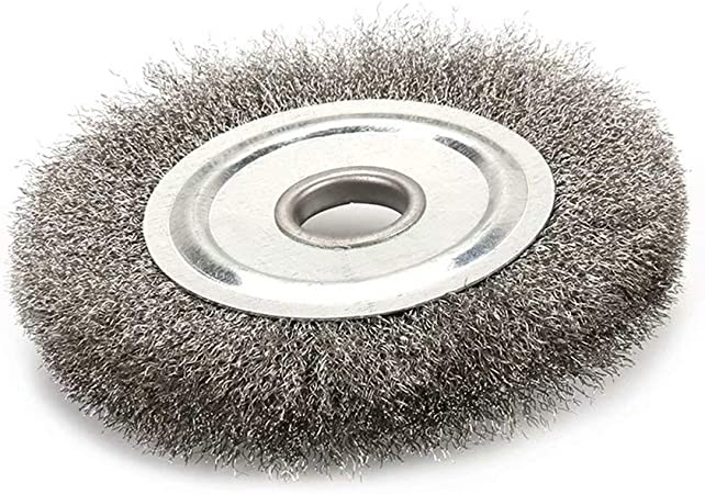 Bench Wheel Brush 6 x 1//2 x 5//8 in Arbor Coarse Crimped Wire Mount Handheld New