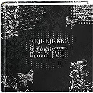 """Pioneer Photo Albums 200-Pocket Chalkboard Printed """"Remember"""" Theme Photo Album for 4 by 6-Inch Prints"""
