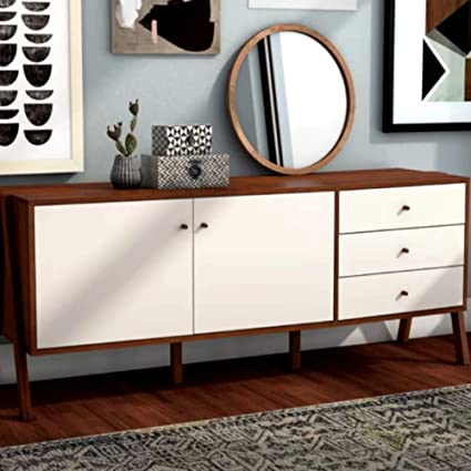 Pleasant Amazon Com Highboard Sideboard White And Walnut Cabinet Home Interior And Landscaping Palasignezvosmurscom