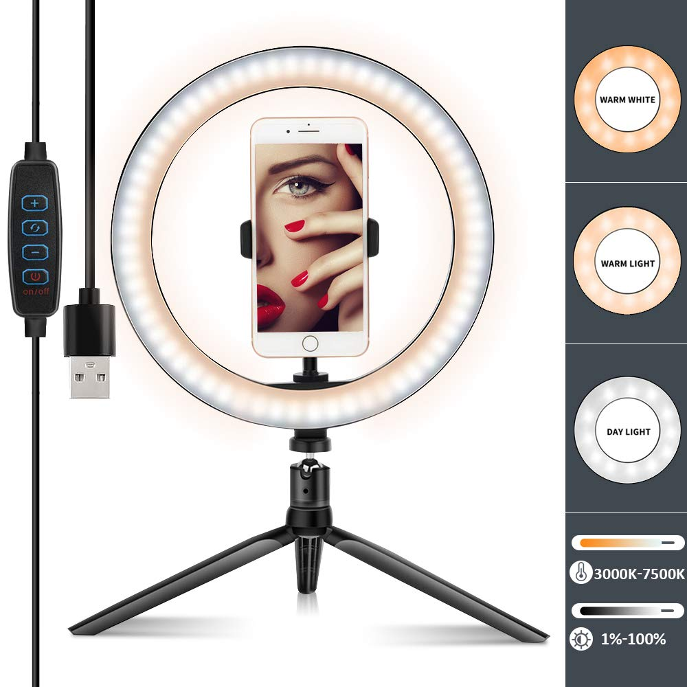 LED Ring Light 10'' with Tripod Stand &Cell Phone Holder -Dimmable Selfie light of 3 Light Modes & 10 Brightness-Perfect Ring Light for YouTube Video Makeup USB LED Desk Camera by KIYA