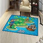 Island Map Small Rug Carpet Funny Cartoon Treasure Island A Pirate Ship Parrot Kids Play Room Door mat Indoors Bathroom Mats Non Slip 2x3 Multicolor