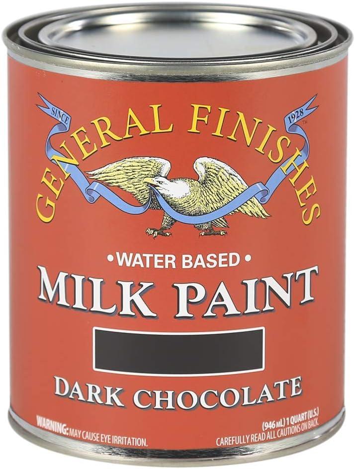 General Finishes Water Based Milk Paint, 1 Quart, Dark Chocolate
