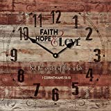 Wilbur Faith Hope & Love 1 Corinthians 13:13 Rustic 12'' x 12'' Wood Wall Clock