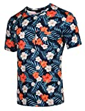Gotchicon Men's Hipster Hip-Hop Hawaiian Floral Flower Prints T-Shirt Top Tees