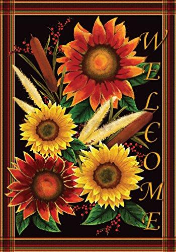 (Toland Home Garden Sunflower Welcome 12.5 x 18 Inch Decorative Fall Autumn Flower Garden Flag)