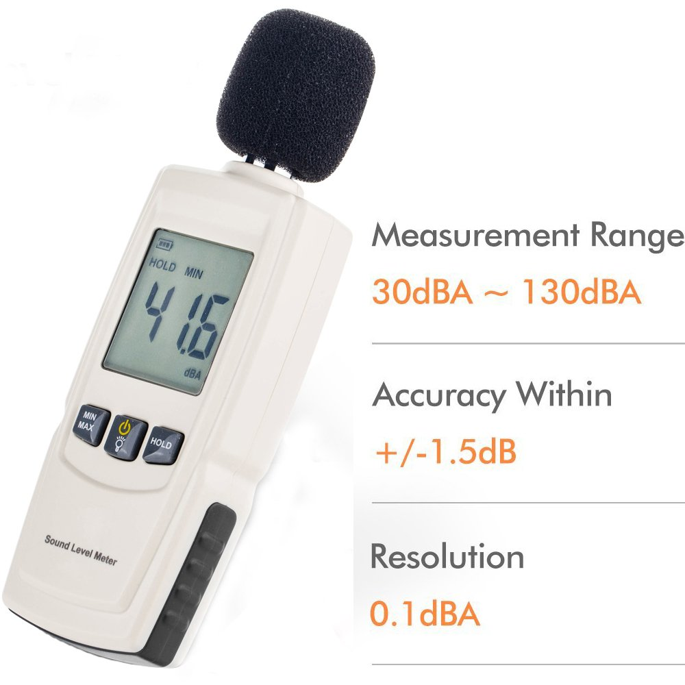 Sound Decibel Meter, GoerTek Digital Mini Sound Pressure Level Meter, Audio Noise Measurement 30-130dBA ,MAX /MIN Hold,Auto Backlight Display-3AAA Battery Includedd (GM1352) by GoerTek (Image #2)