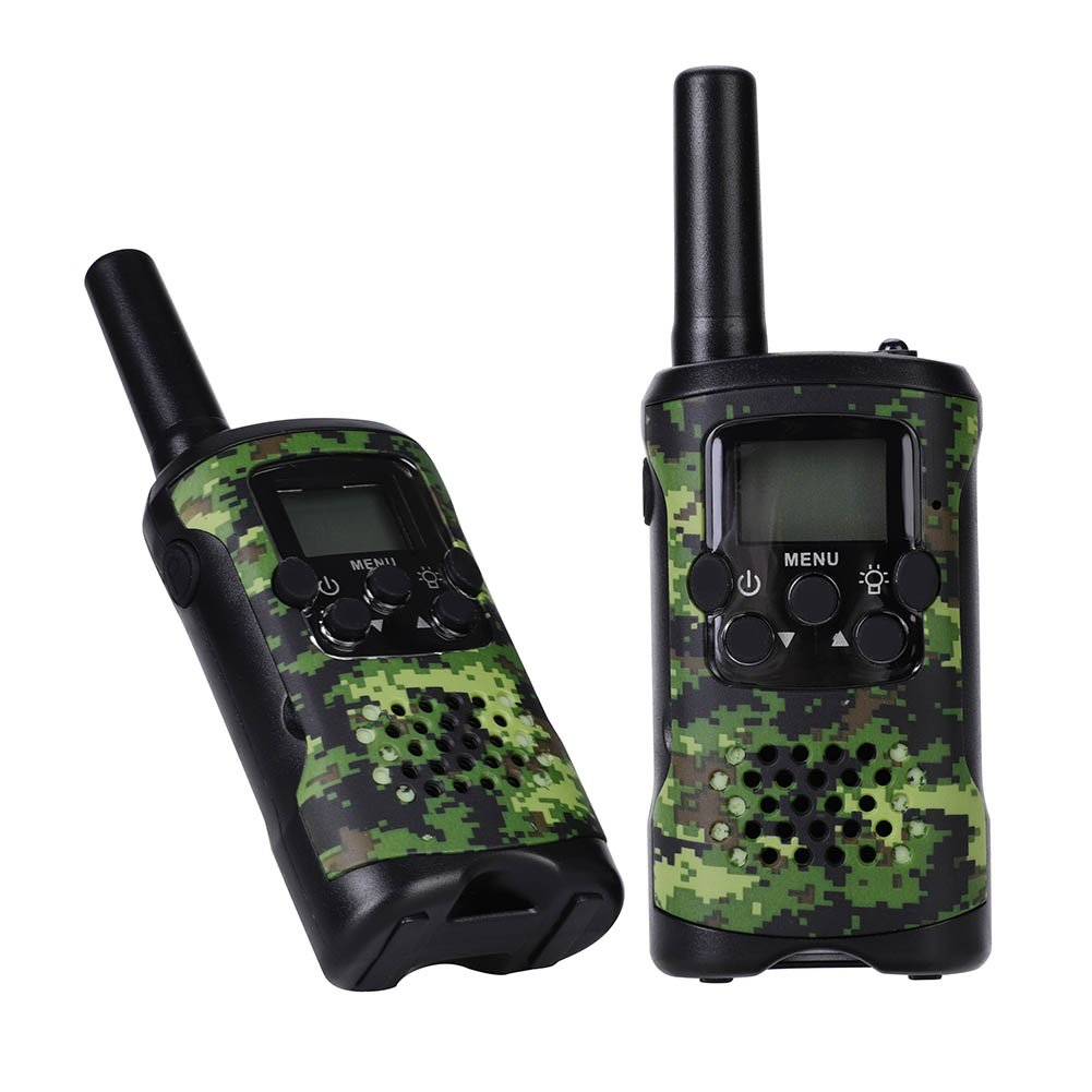 VGEBY 1 Pair Walkie Talkie, Children Camo 22 Channels Wireless Interphone Two Way Radio With Clips and Manual