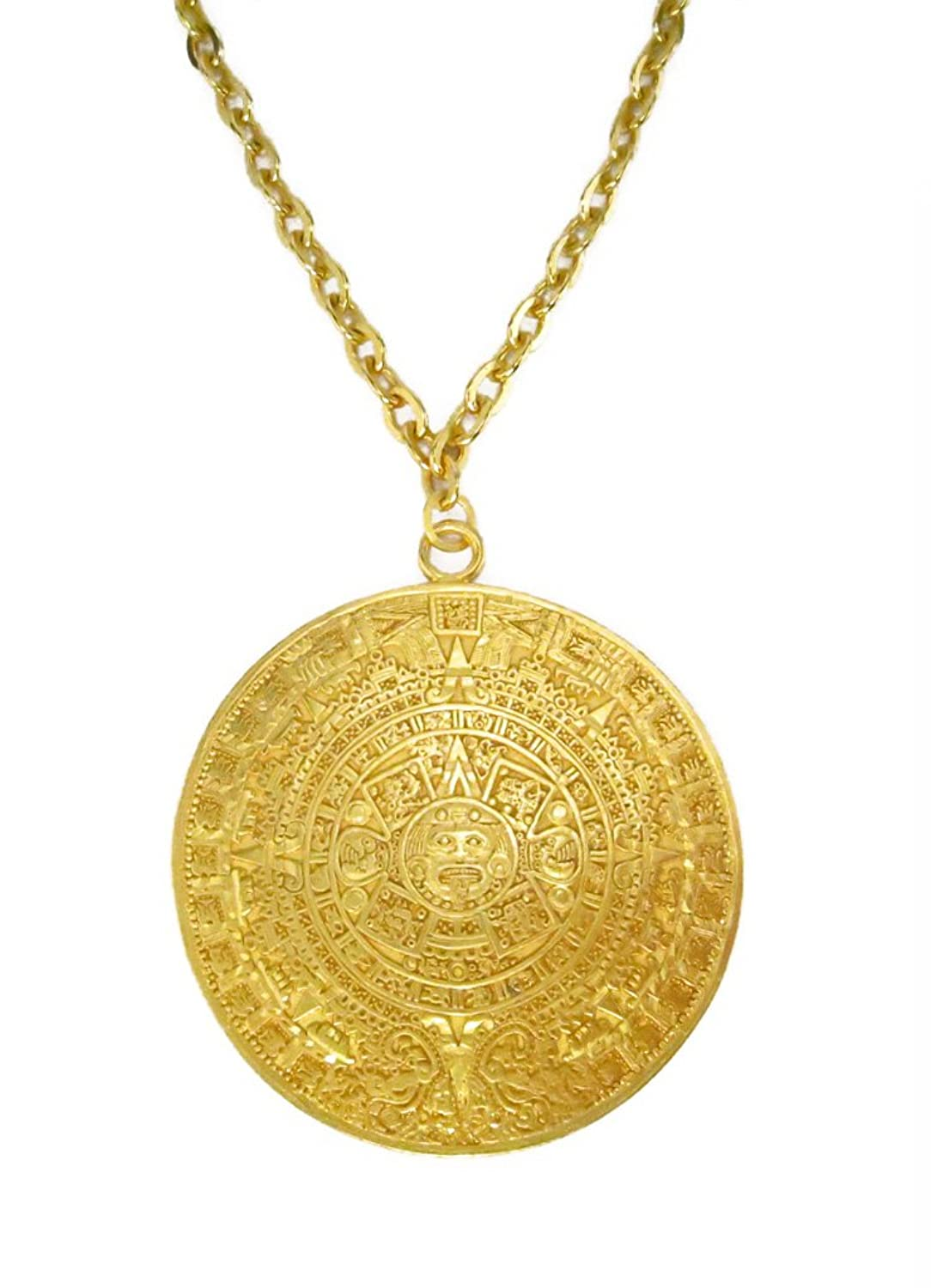 Amazon 24k gold plated 2 aztec calendar 47 mm thick 22 amazon 24k gold plated 2 aztec calendar 47 mm thick 22 cable chain necklace jewelry mozeypictures Images
