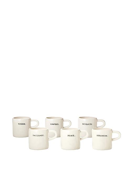Rae Dunn Magenta Set of 6 Word Diner Mugs ~ Wisdom Patience Comfort Peace  Serenity Strength