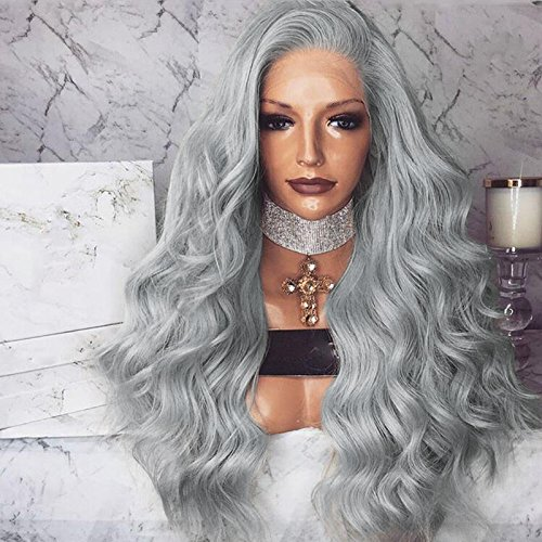 Price comparison product image Gray Long Body Wave Lace Front Wigs Silver Grey Synthetic Wigs Half Hand Tied Heat Resistant Wavy Gray Hair Wigs For Women Daily Wear 26 inch by Bernect