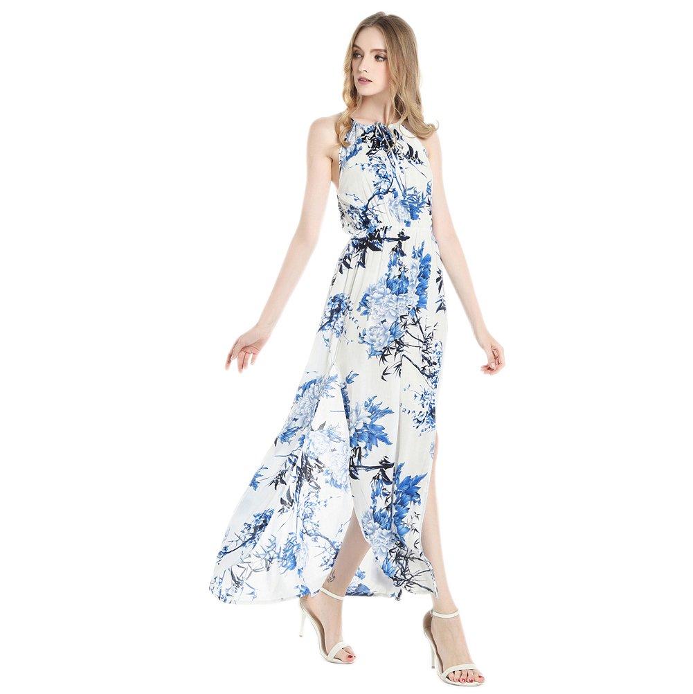 Zumine Women\'s Floral Print Halter Neck Split Summer Beach Maxi Dress (M, Blue)