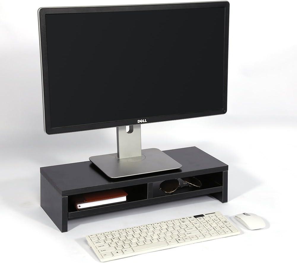 Negro Ordenador de sobremesa para Monitor Soporte Elevador de Pantalla de TV con 2/Niveles Estante de Almacenamiento 66/Libras Capacidad de Carga Madera Soporte De Monitor