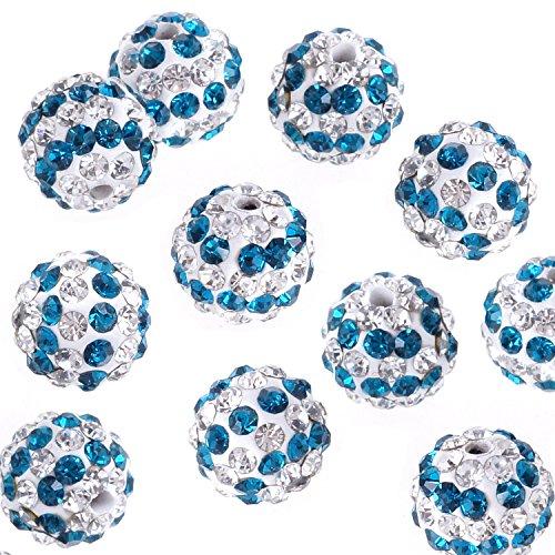 RUBYCA Stripes Czech Crystal Round Disco Ball Clay Beads fit Shamballa Jewelry (20pcs, 10mm, Blue)