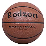 Rodzon Basketball Outdoor/Indoor Game Basketball with Pump, Needles, Basketball Net--Official Size 7 (29.5') (Grey)