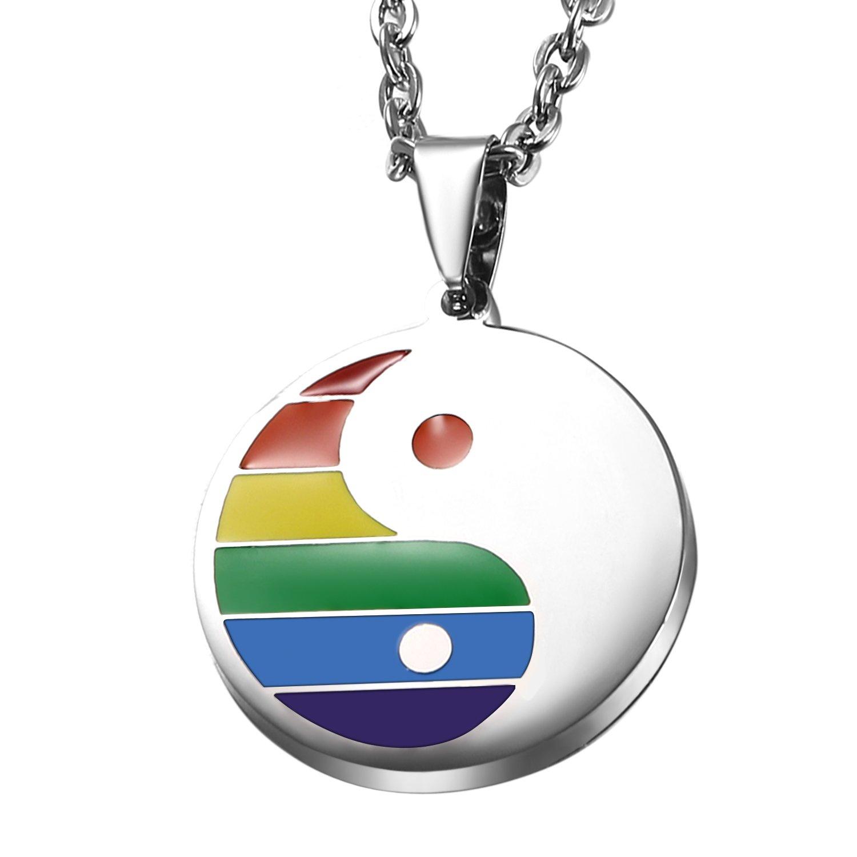 Oidea Collana Tag Acciaio Inox per Gay//LGBT Modello Arcobaleno,LGBT Orgoglio,Orgoglio Felice World Pride